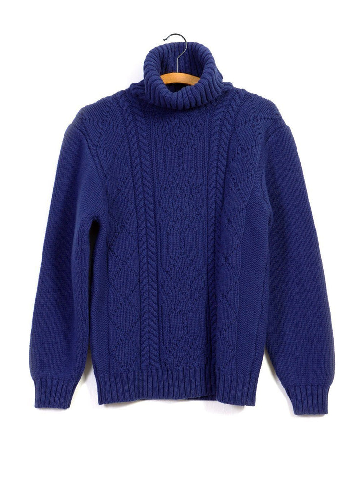 DECONSTRUCTED ARAN | Turtle Neck Knit | Electric Blue | €300 -Inis Meáin- HANSEN Garments