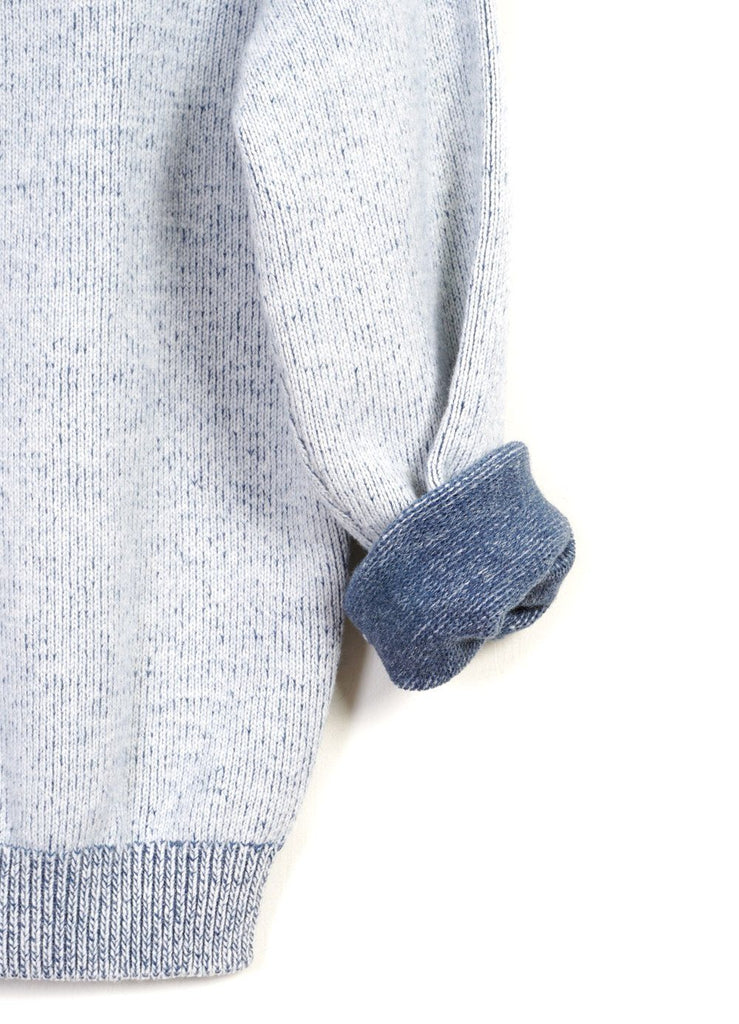 DOUBLE COLLAR | Crew & Turtle Neck Knit | White Blue | €285 -Inis Meáin- HANSEN Garments