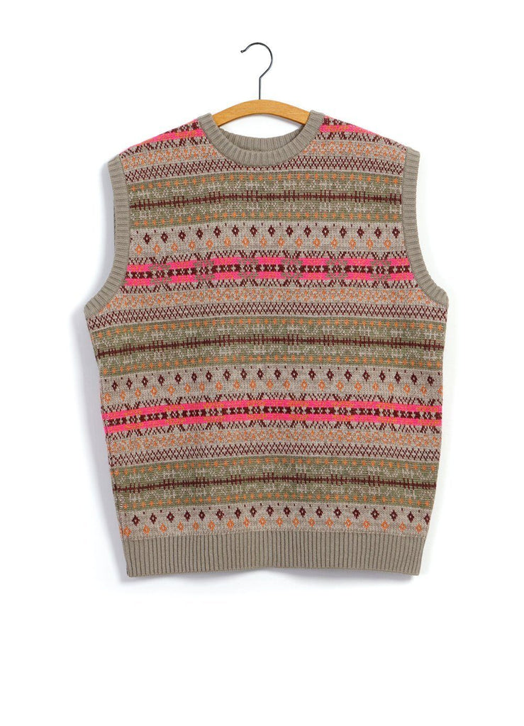 Kapital - FAIR ISLE BONE | Vest | GreyBeige - HANSEN Garments