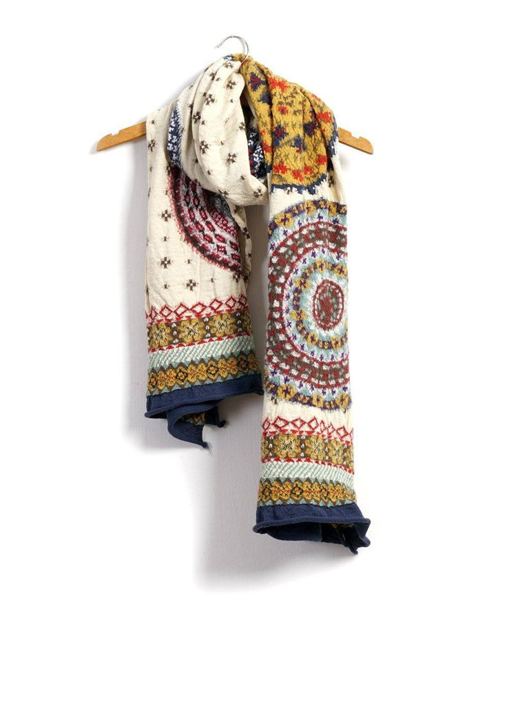 FAIR ISLE FIVE RINGS | Compressed Wool Scarf | Nature | €260 -Kapital- HANSEN Garments