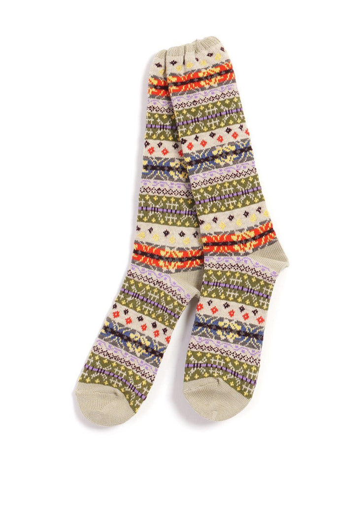 Kapital - FAIR ISLE SOCKS | 96 Yarns | Beige - HANSEN Garments