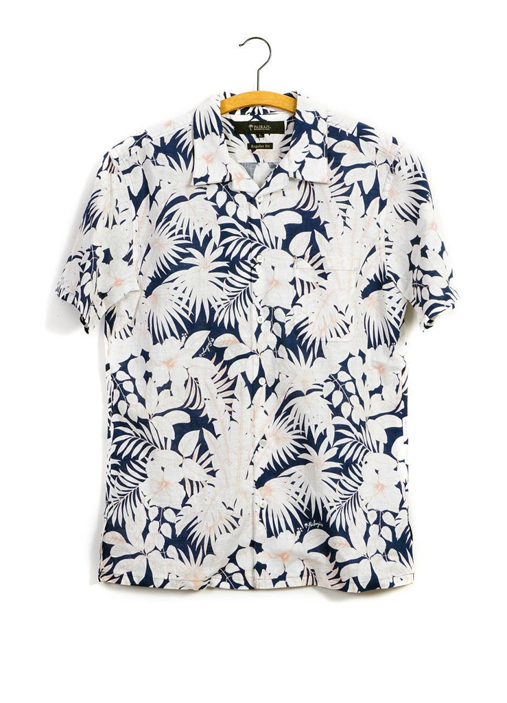FLORAL | Short Sleeve Shirt | Navy Orange | 215€ -PAIKAJI- HANSEN Garments