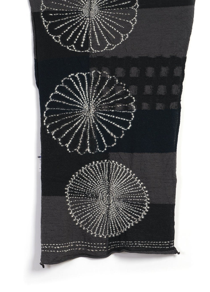 Kapital - FUROSHIKI FIVE RINGS | Compressed Wool Scarf | Black - HANSEN Garments