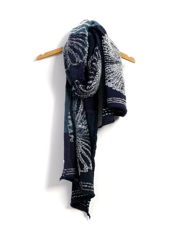 FUROSHIKI FIVE RINGS | Compressed Wool Scarf | Navy | €260 -Kapital- HANSEN Garments