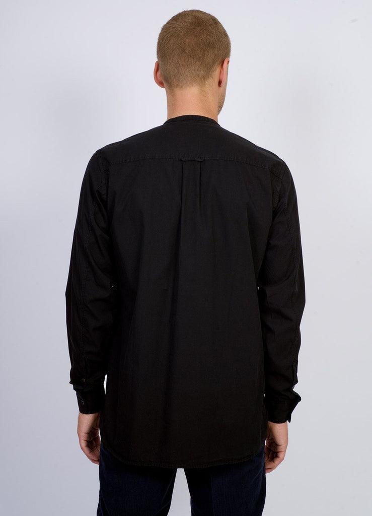 ARTHUR	| Collarless Pull-on Shirt | Black | €150