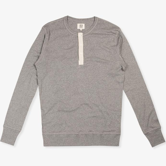 HARRI | Organic Long Sleeve Henley | Grey | €70 -HEMEN BIARRITZ- HANSEN Garments