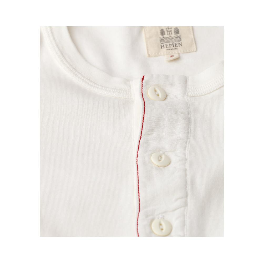 HARRI | Organic Long Sleeve Henley | White | €70 -HEMEN BIARRITZ- HANSEN Garments