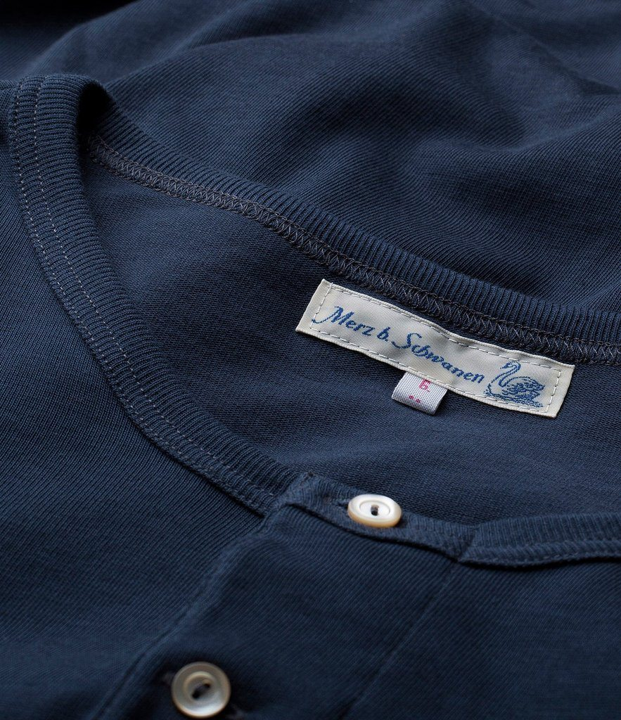 HENLEY | Organic Long Sleeve T-Shirt | Ink Blue | €90 -MERZ B. SCHWANEN- HANSEN Garments