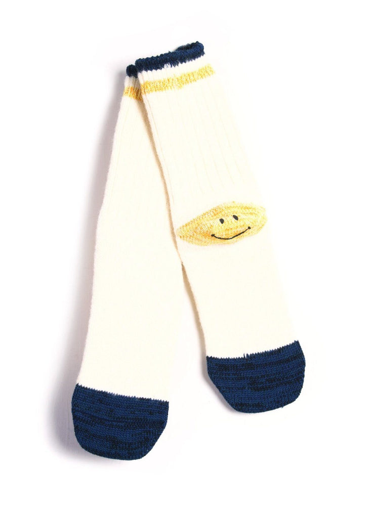 Kapital - IVY SMILEY | Cotton Hemp Wool Socks | Offwhite - HANSEN Garments