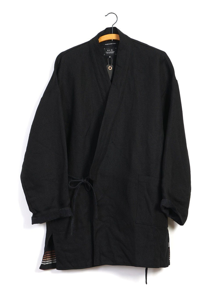 JAPANESE FARMER COAT | Heavy Linen | Black -KAI D- HANSEN Garments