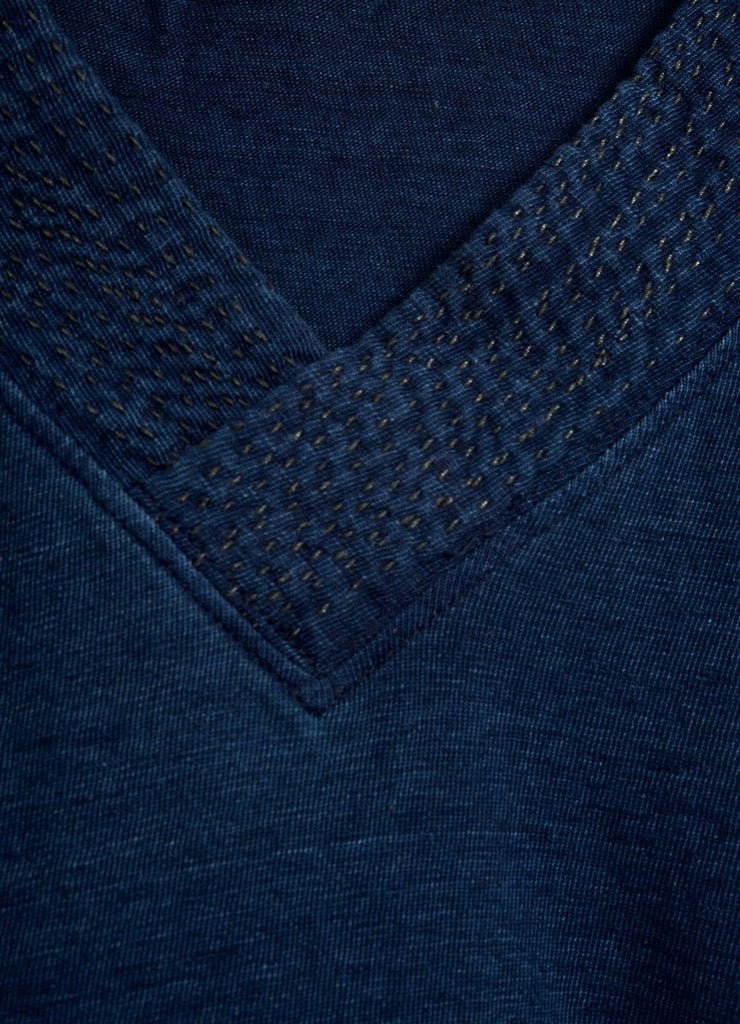JERSEY SASHIKO | V Neck Pocket T | Indigo | €175 -Kapital- HANSEN Garments