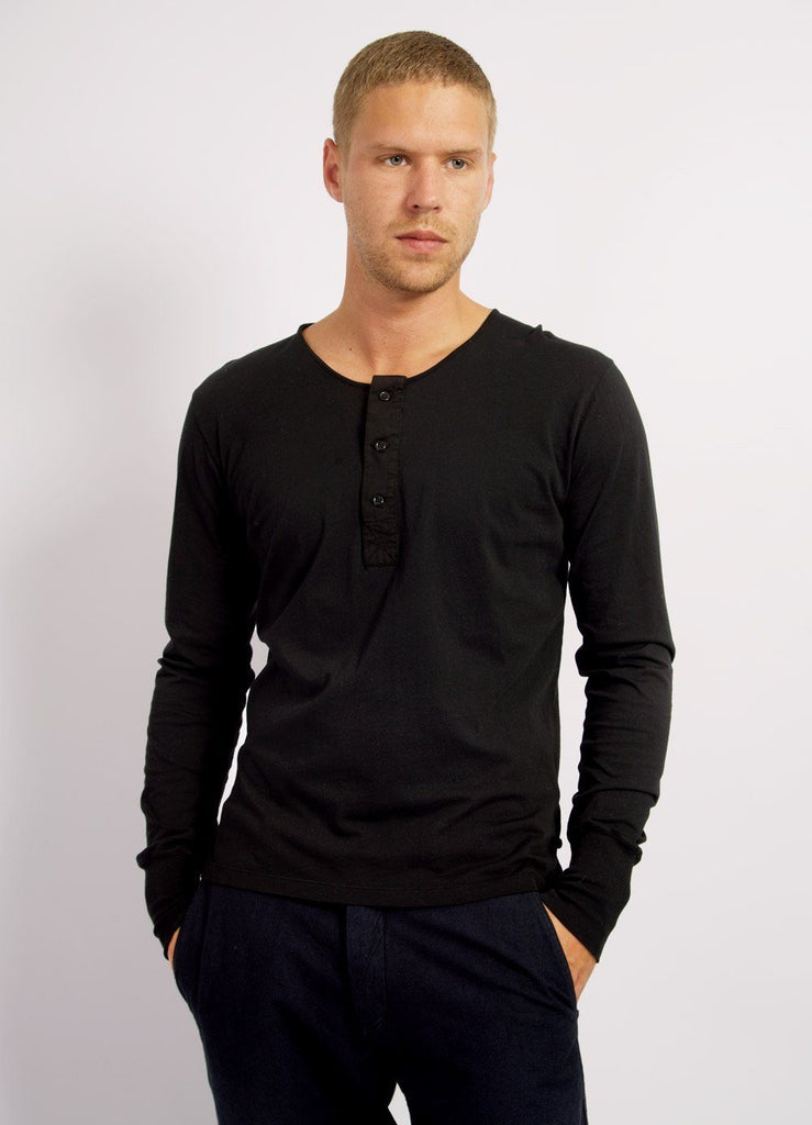 JONAS | Long Sleeved Henley | Black | €80 -HANSEN Garments- HANSEN Garments