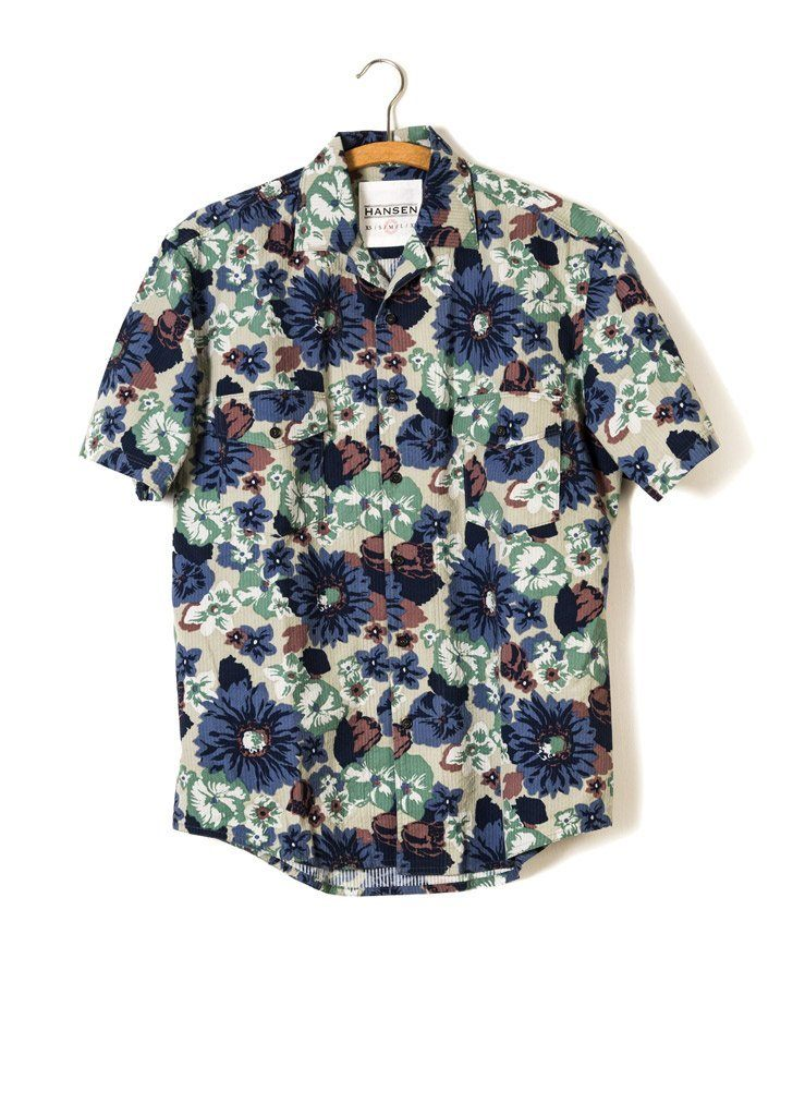 JONNY | Short Sleeve Shirt | Blue Print | €200 -HANSEN Garments- HANSEN Garments