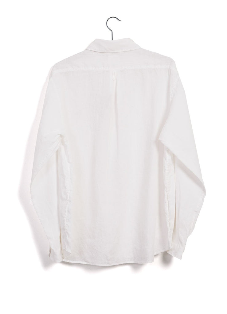 LINEN CLOTH | Long Sleeve Pull-On Shirt | White -DANTON- HANSEN Garments