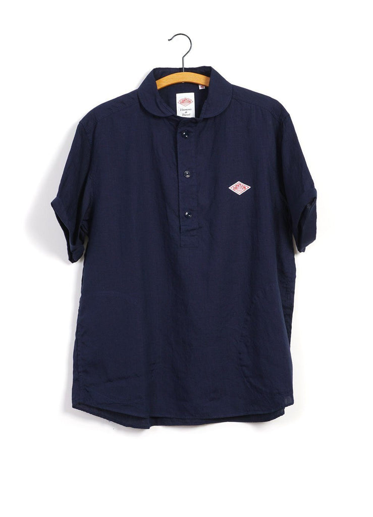 LINEN CLOTH | Short Sleeve Pull-On Shirt | Navy -DANTON- HANSEN Garments
