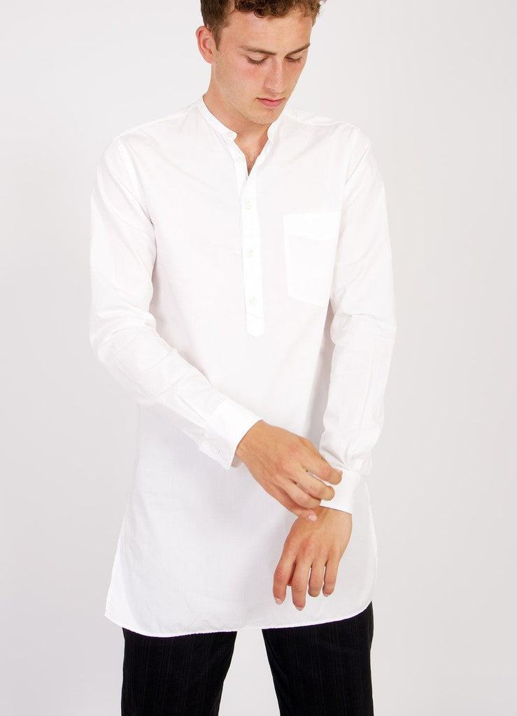 Long collarless cotton poplin shirt in white