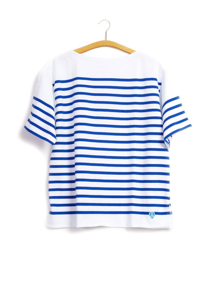 ORCIVAL - MARINE NATIONALE | Striped T-shirt Short Sleeve | Electric Blue White | €80 - HANSEN Garments