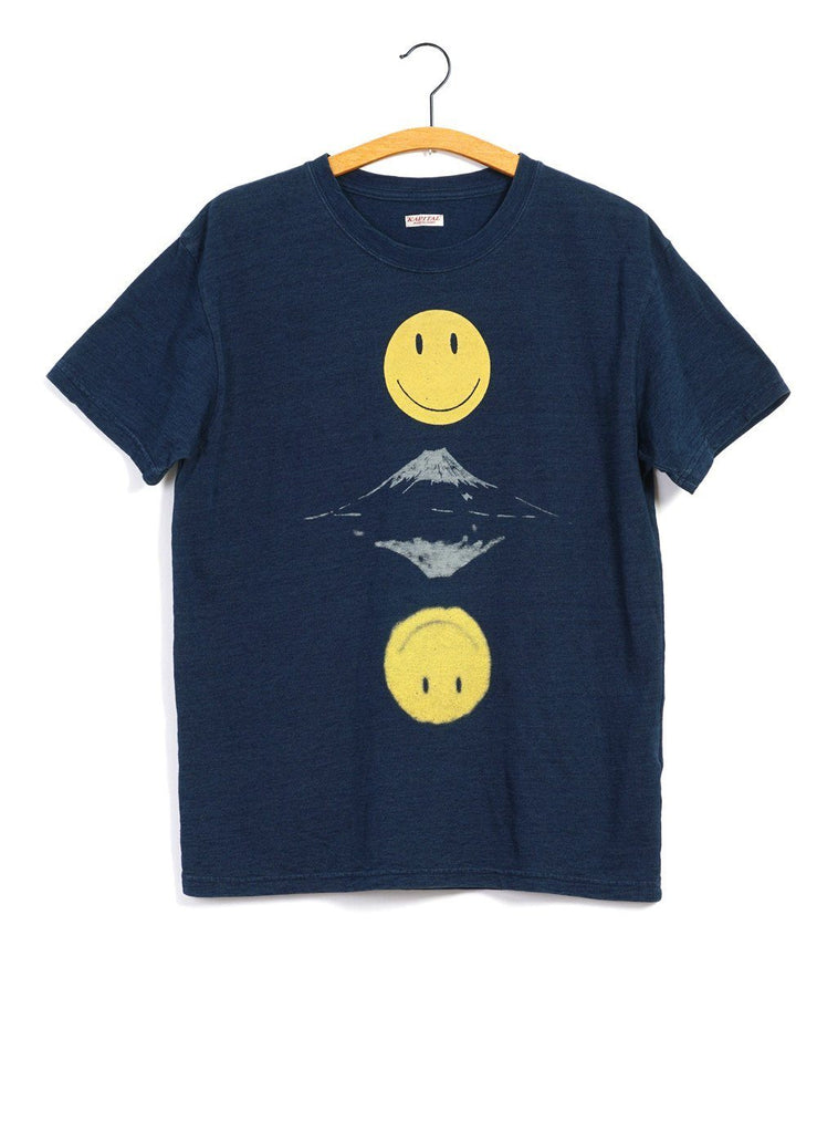 MIRRORED FUJI SMILE | Crew Neck T | Indigo | €180 -Kapital- HANSEN Garments