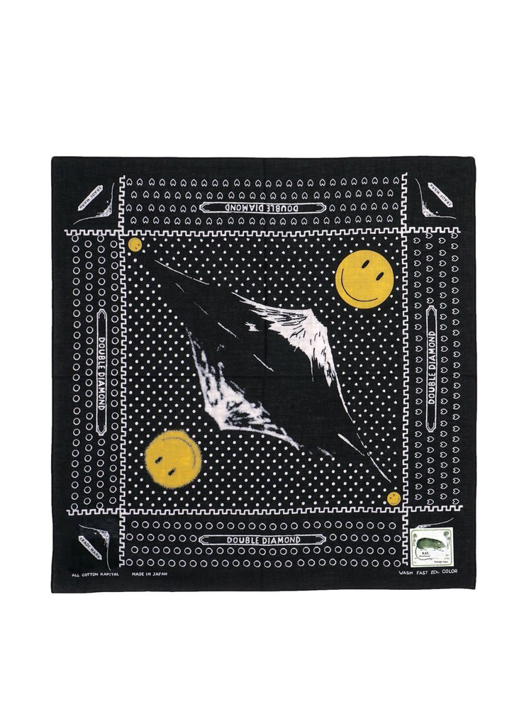 Kapital - Mirrored FUJI Smile | Fast Color Selvedge Bandana | Black - HANSEN Garments