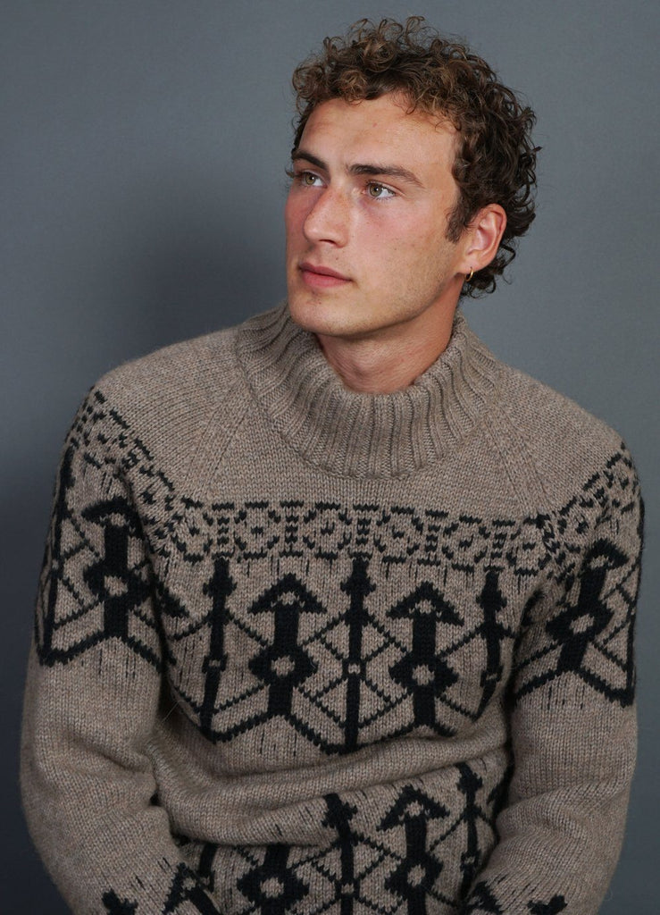NORMANN | Pattern Knit Sweater | Stone/Coal | €400 -HANSEN Garments- HANSEN Garments