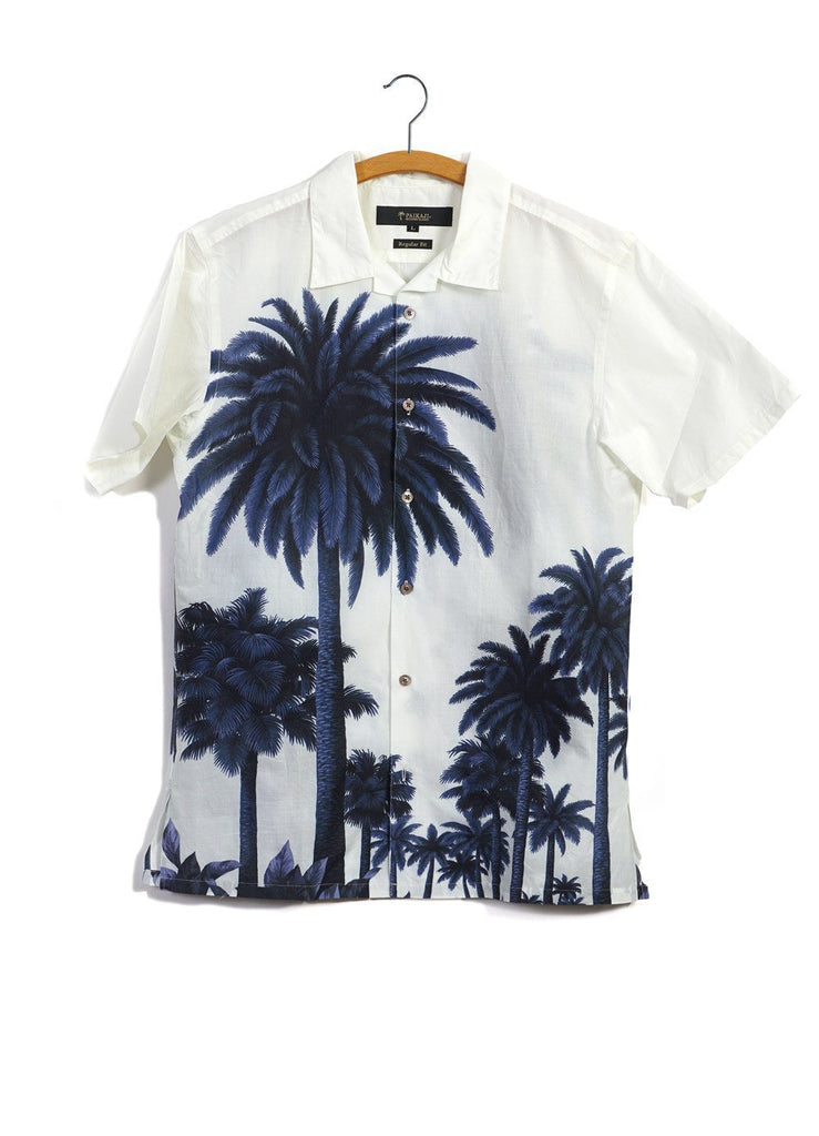PALM TREES | Short Sleeve Shirt | Navy Offwhite | 335€ -PAIKAJI- HANSEN Garments