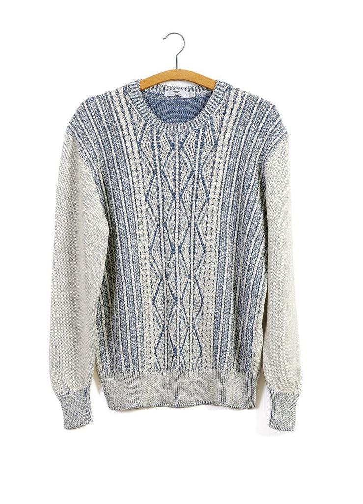 PATENTED ARAN | Cable Knit Sweater | Blue Offwhite | 240€ -Inis Meáin- HANSEN Garments