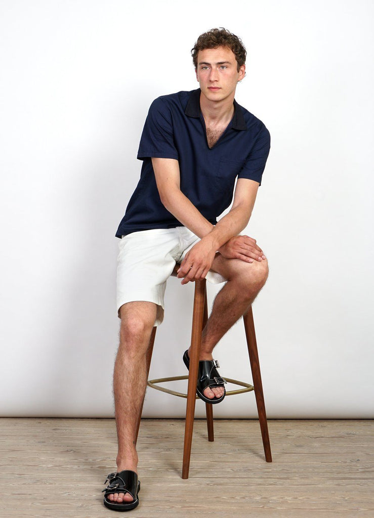 PHILLIP | Short Sleeve Pull-On Shirt | Indigo -HANSEN Garments- HANSEN Garments
