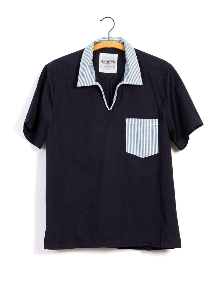 PHILLIP | Short Sleeve Pull-On Shirt | Navy/Stripe -HANSEN Garments- HANSEN Garments