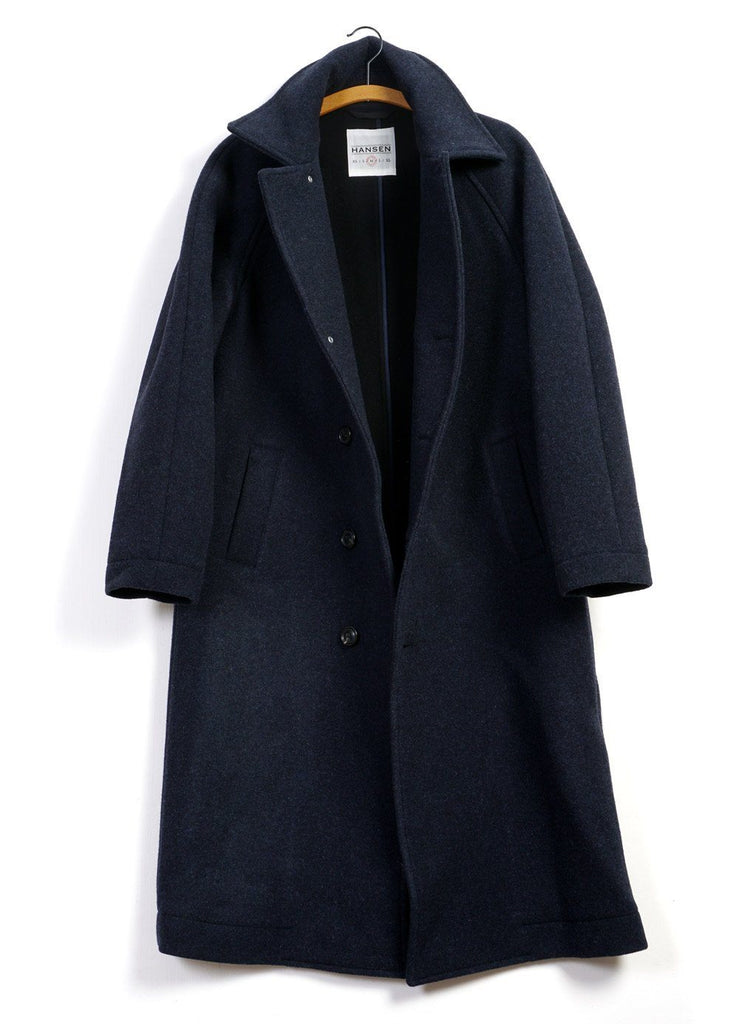 SIGFRED | Long Solid Wool Coat | Navy Melange | €650 -HANSEN Garments- HANSEN Garments