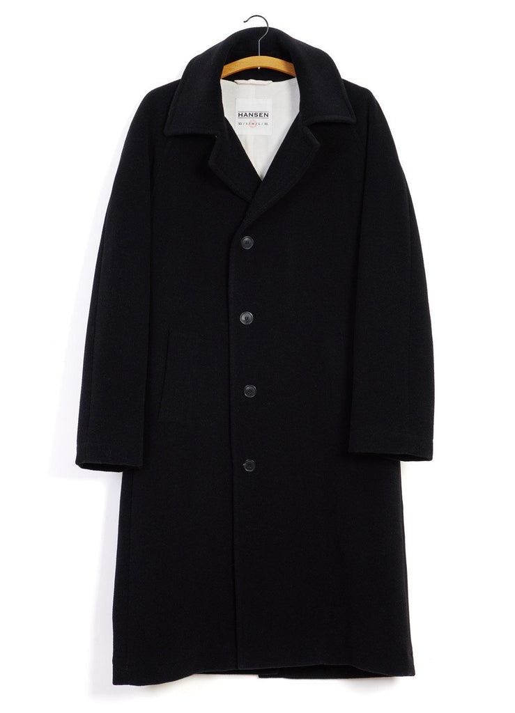 HANSEN Garments - SIGURD | Long Lined Wool Coat | Black - HANSEN Garments