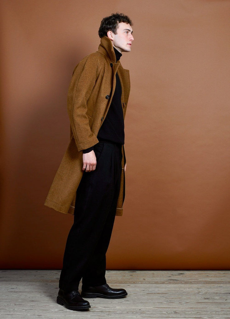 HANSEN Garments - SIGURD | Long Wool Felt Coat | Cognac - HANSEN Garments