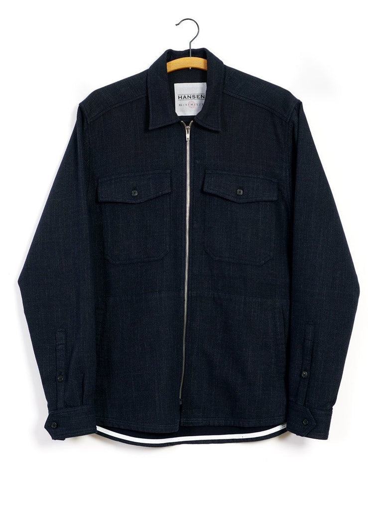 HANSEN Garments - SIGVE | Zipper Front Over Shirt | Navy Melange - HANSEN Garments