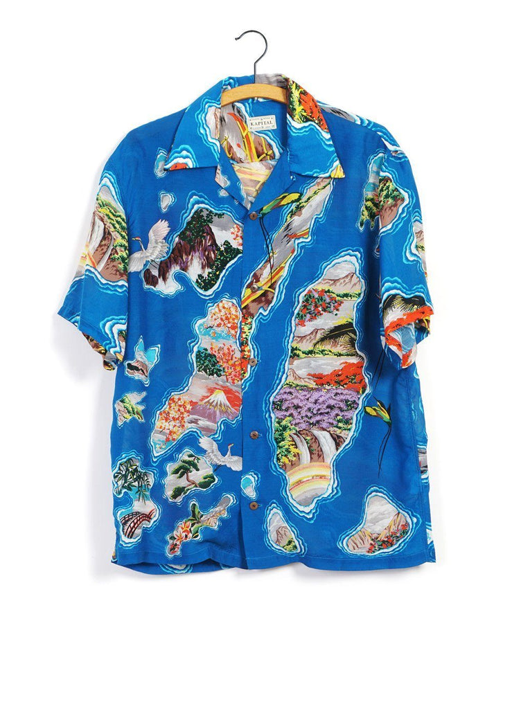 SILK RAYON PACIFIC ATLANTIC | ALOHA SHIRT | Blue | €420 -Kapital- HANSEN Garments
