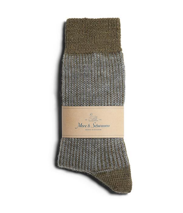 SOCKS RIPPED FINE | Wool Socks | Army Grey Melange | €35 -MERZ B. SCHWANEN- HANSEN Garments