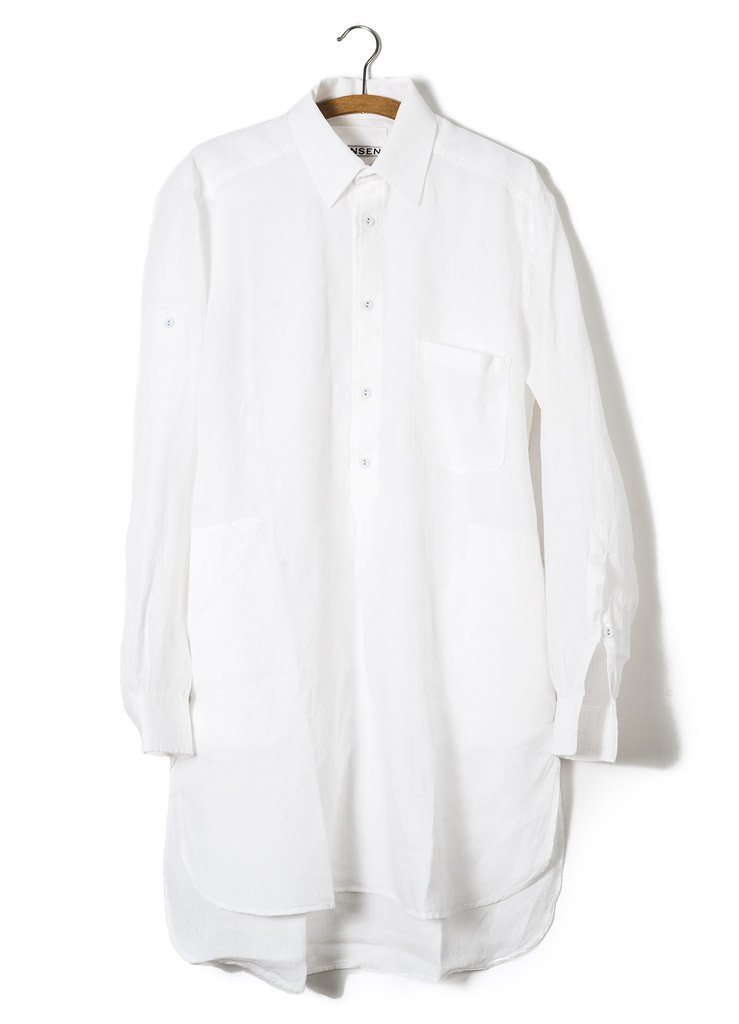 STIAN | Long Pull On Shirt | White | €215 -HANSEN Garments- HANSEN Garments