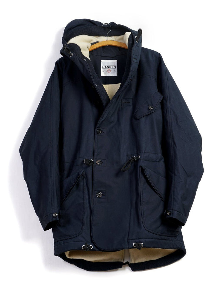 STORM | Hooded Winter Coat | Petroleum Navy | €650 -HANSEN Garments- HANSEN Garments