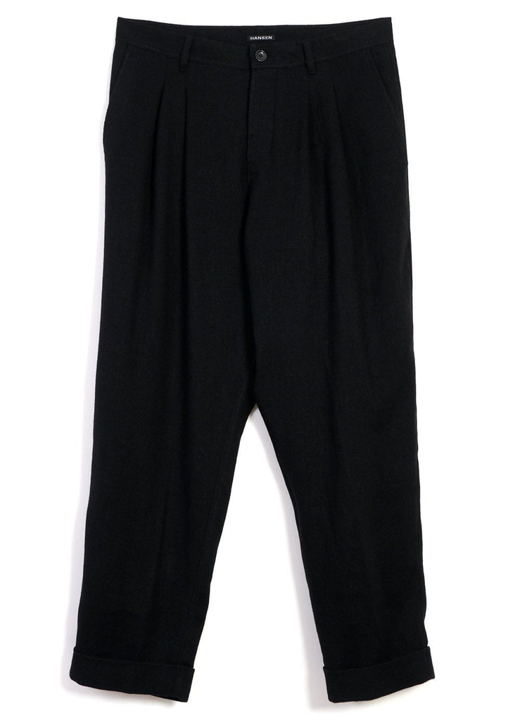 HANSEN Garments - SYLVESTER | Double Pleated Trousers | Black - HANSEN Garments