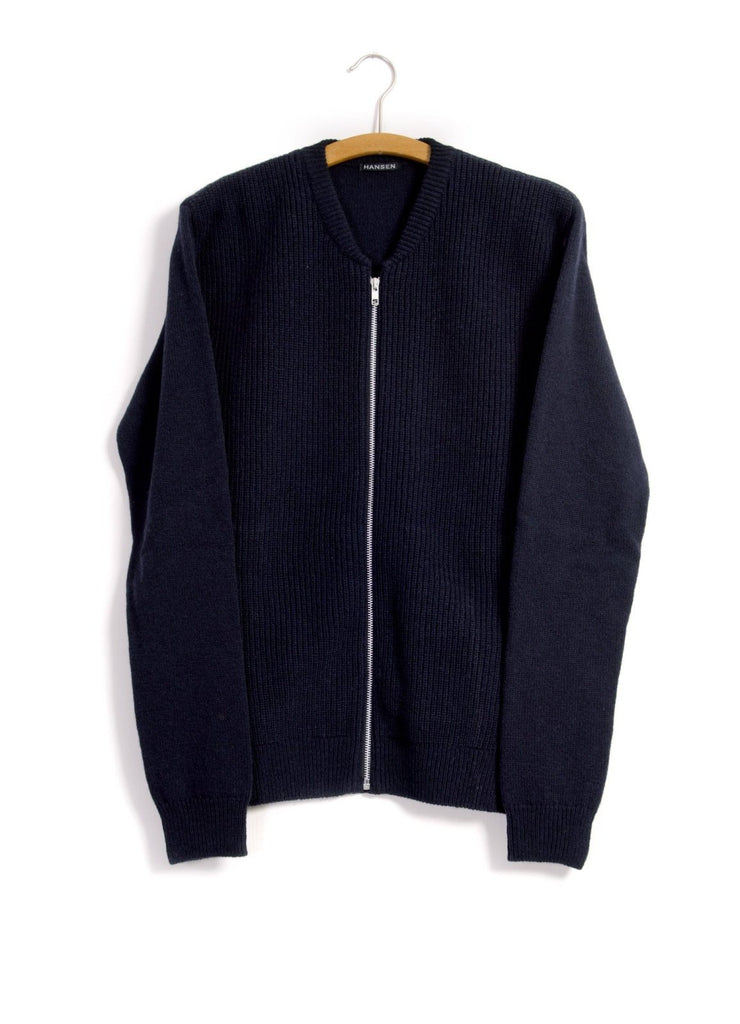 HANSEN Garments - TORBEN | 2x2 Rib Zip Cardigan | Navy - HANSEN Garments