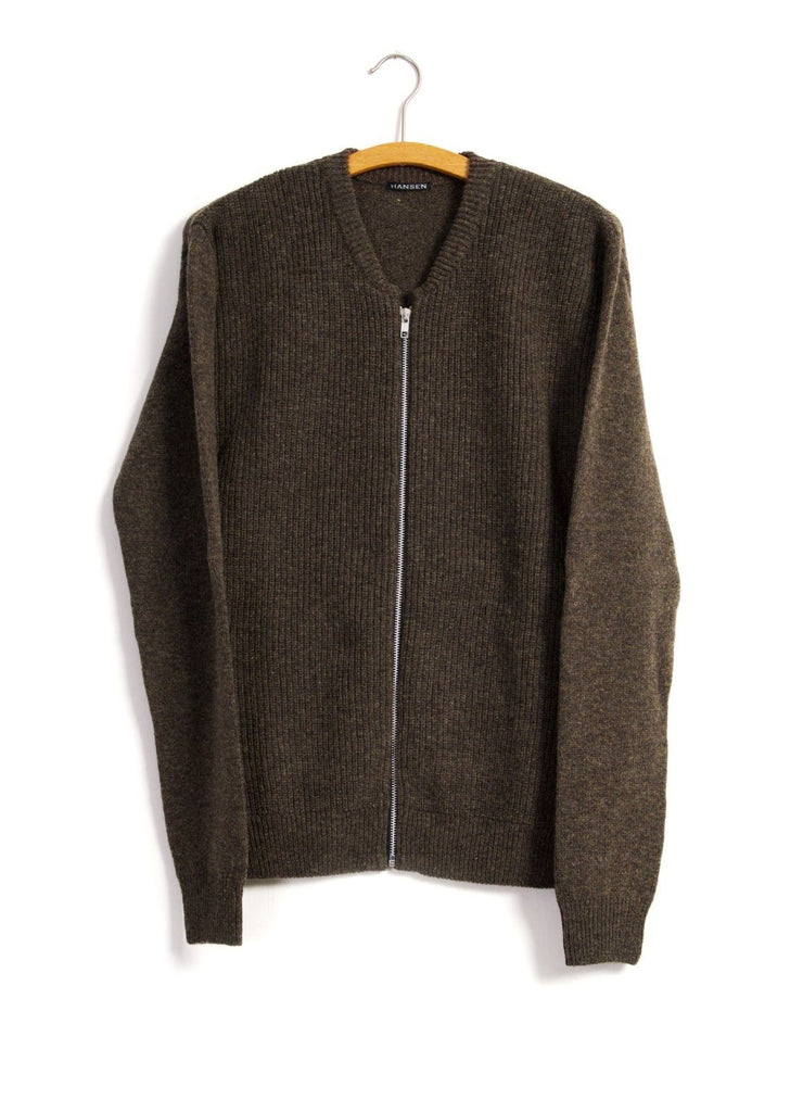 HANSEN Garments - TORBEN | 2x2 Rib Zip Cardigan | Oak - HANSEN Garments