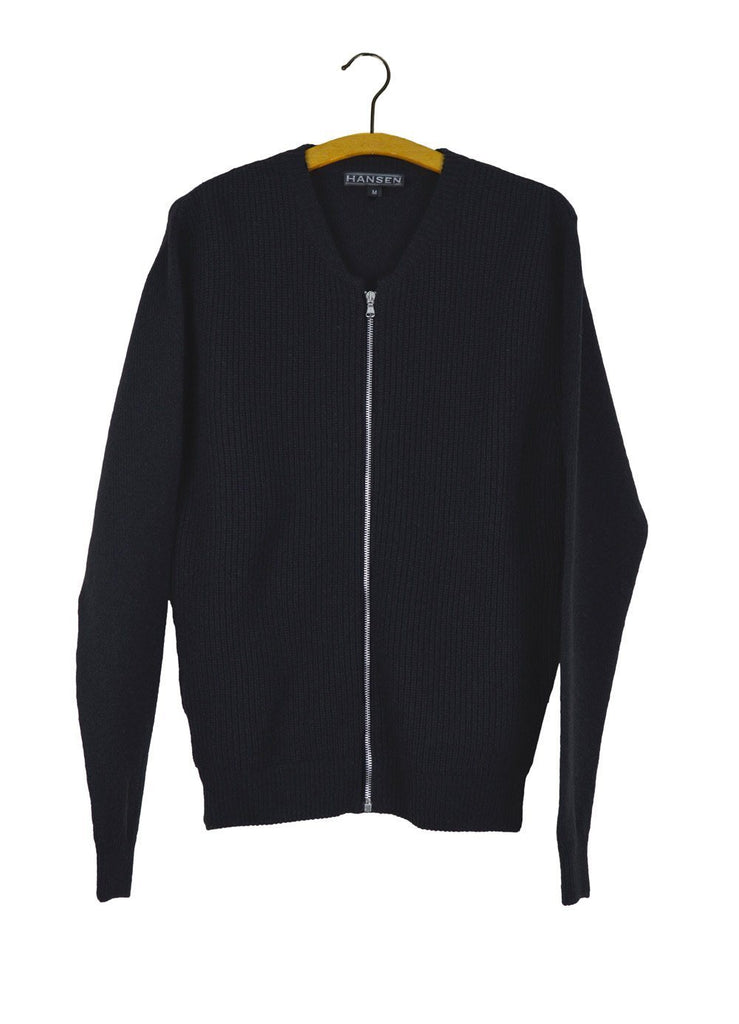 HANSEN Garments - TORBEN | Knitted Zip Cardigan | Black - HANSEN Garments