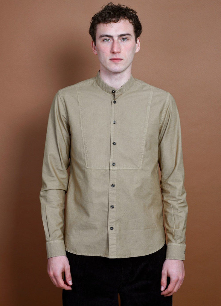 HANSEN Garments - VALMAR | Collarless Bib Shirt | Gobi - HANSEN Garments