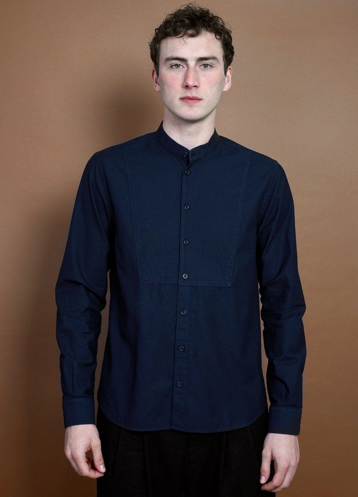 HANSEN Garments - VALMAR | Collarless Bib Shirt | Navy - HANSEN Garments
