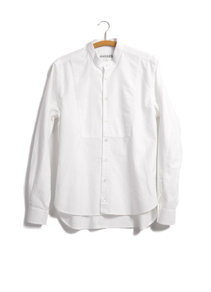 HANSEN Garments - VALMAR | Collarless Bib Shirt | White - HANSEN Garments