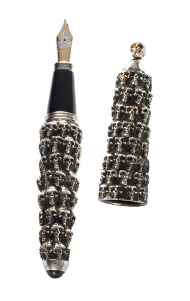 PENDORA SKULL PEN STERLING AND GOLD