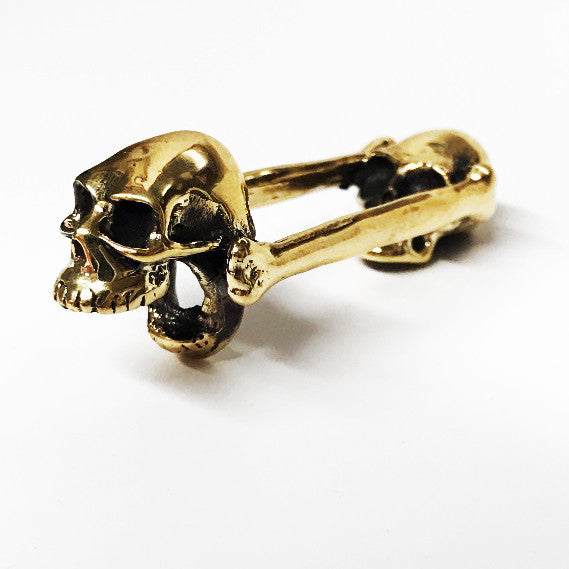 Biting Skull Yellow Bronze Bottle Opener