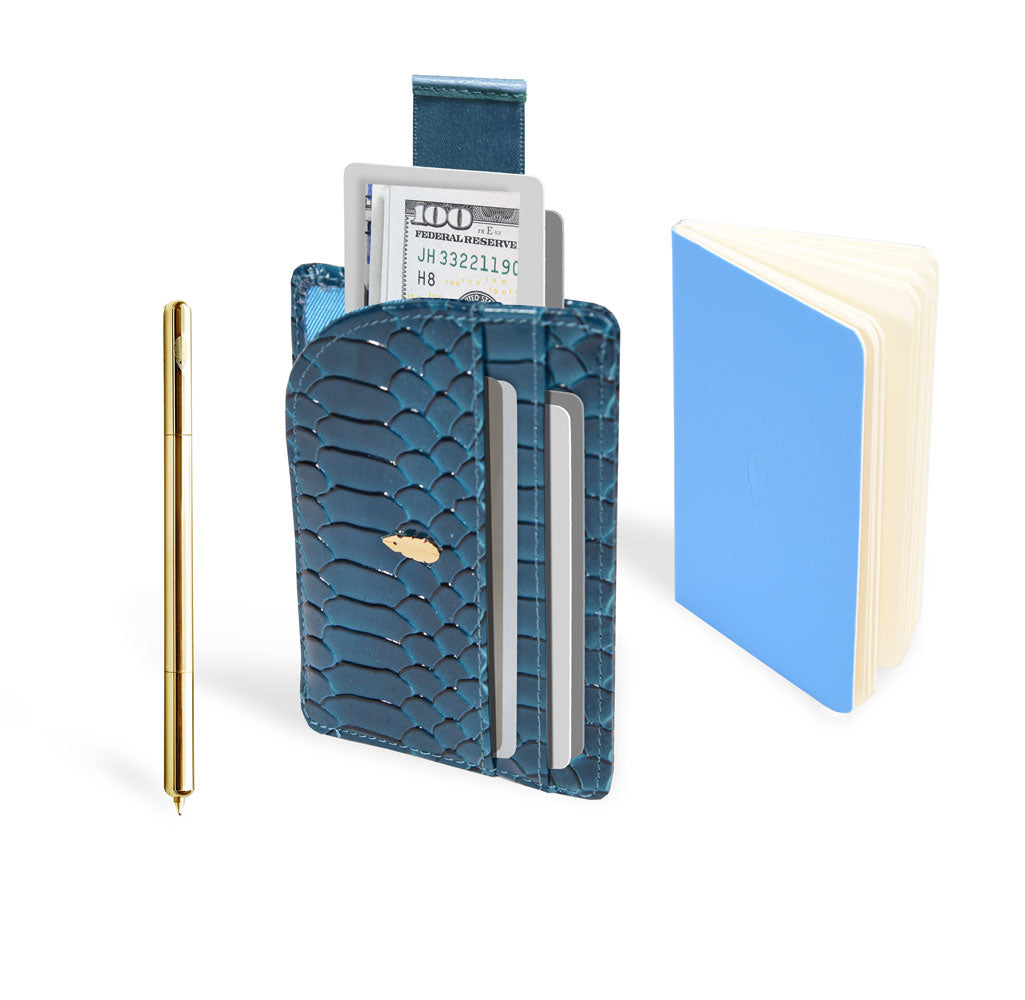 Inscribe Self 3in1 Leather Wallet - Teal/Gold
