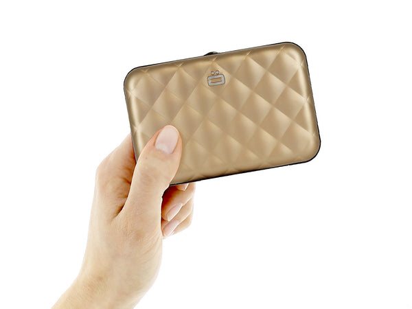 Ogon Quilted Button Aluminum Wallet