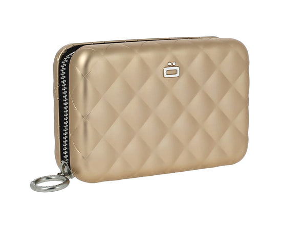 Ogon Quilted Aluminum Zipper Credit Card Case - multiple colors