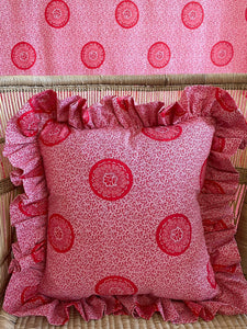 Shweshwe Ruffle cushion in Grenadine