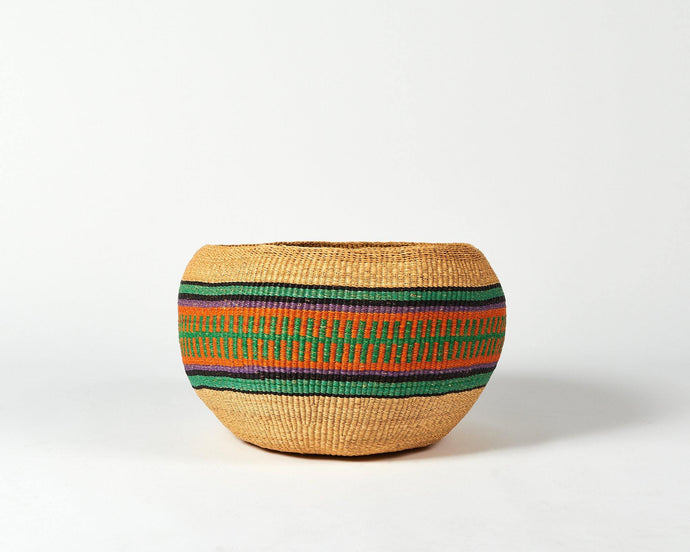 Baba Bowl in natural with orange stripe